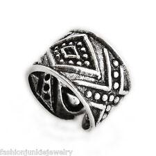 Aztec Ear Cuff Earring - 925 Sterling Silver - No Piercing Clip On Tribal Bali