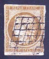 """FRANCE STAMP TIMBRE YVERT N° 1 """" CERES 10c BISTRE-JAUNE """" OBLITERE A VOIR D638"""