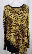 Christopher & Banks Leopard Animal Print Asymmetric Hem LS Shirt Sz LARGE NWT