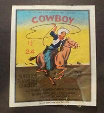 * Cowboy Firecracker Pack Label - Vintage Fireworks Labels