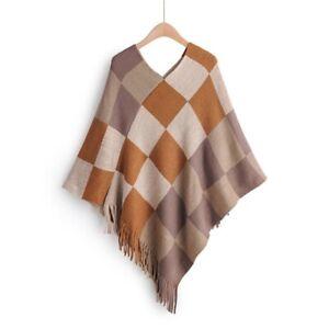 Check Women Poncho Cloak Sweater Jumper Batwing Tassel Pullover Knit Coat