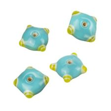 Sputnik Lampwork Turquoise/Yellow Disc Glass Beads 21mm Pack of 4 (B15/13)