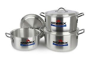 Sonex 6pc Metal Finish Casserole/Stew Pan/Pot Set 6 x 8 With Lid 31,33,36 cm New