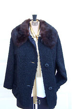JUST REDUCED Vintage Black Faux Persian Lamb Brown Detachable Fur Collar Sz Med