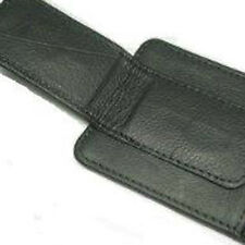 BLACK MAGNETIC LEATHER STRONG MONEY CLIP Credit Thin Front Pocket Wallet 340