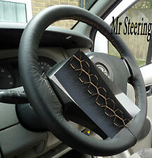 FITS FIAT SCUDO 2007+ REAL ITALIAN LEATHER STEERING WHEEL COVER BEIGE STITCHING