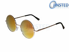 STEAMPUNK TEASHADES CIRCLE SUNGLASSES ROUND RED MIRRORED GOLD SHADES  SP004