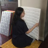 3D PE Foam DIY Brick Stone Embossed Wall Paper Wall Stickers Wall Decor 30*60cm