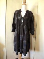dress  tunic  grey nicki plowman  cotton lightweight  hippie print  pintuck