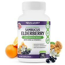 Sambucus Elderberry Capsules w/  Zinc & Vitamin C - 3 Way Immune Support 90 Serv