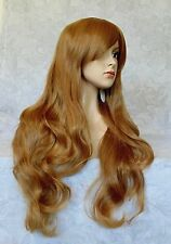Long High Heat Resistant Lt Brown Tousled Waves Full Synthetic Wig Wigs - 3565