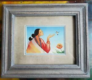 Native American R C Gorman framed matted print southwest art woman hummingbird