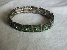 Beautiful Stretch Bracelet Silver Tone Green Glitter Enamel Rhinestones CUTE