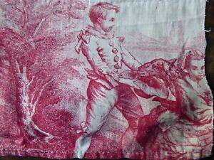 ANTIQUE FRENCH  TOILE DE JOUY FABRIC