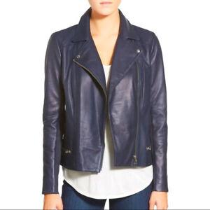 Trouve Leather Moto Jacket Women's Size M NWT NAVY BLUE AllSaints Balfern Style