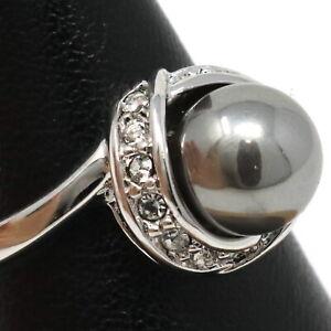 Round Tahitian Gray Pearl Diamond Halo Ring 14K White Gold Plated Women Jewelry