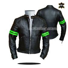 Cruiser leather jacket black leather jacket with green lining any size bargain
