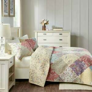 BEAUTIFUL COZY PATCHWORK BLUE PINK YELLOW RED BLUE ROSE SOFT BEDSPREAD QUILT SET