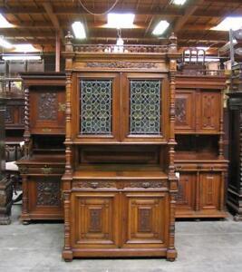 Antique French Renaissance Carved Oak Buffet Cabinet