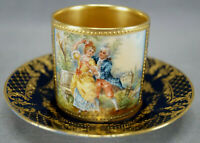 Dresden Royal Vienna Style Hand Painted Courting Couple Cobalt & Gold Cup I