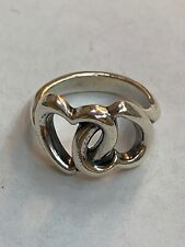 James AVERY Sweetheart DOUBLE Linked HEARTS Sterling Silver Ring size 4