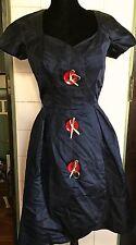 VTG 1950s 50s Navy Silk Huge Red Silver Novelty Buttons Dress Maurice of Detroit