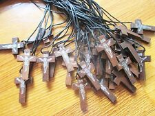 Wholesale Lot of 30 Small Wood Crosses / Crucifixes on Black Cord Necklaces