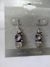 Vintage Earrings Jewelry Network Sterling Silver Purple Stone With Heart Romance