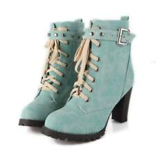 Womn Ladies Block High Heel Buckle Studded Lace Ups Casual Ankle Boots 34/43 D