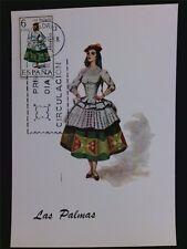 SPANIEN MK 1968 TRACHTEN LAS PALMAS COSTUMES MAXIMUMKARTE MAXIMUM CARD MC c5555