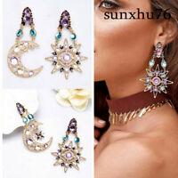 Women's Elegant Crystal Sun and Moon Star Dangle Drop Long Earrings Jewelry Gift