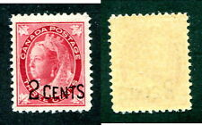 Mint Canada 2 Cent Overprinted Queen Victoria Leaf Stamp #87 (Lot #12963)
