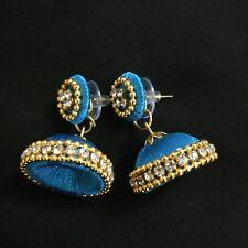 Silk thread Blue Jhumki Jhumka Women Teen Girls Hot Dangler Indian Party earring