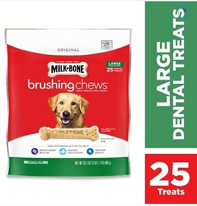 Milk-Bone Brushing Chews Dental Treats (Large) - 33.7oz/25ct per bag - FREE S/H!