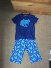 Boys Mini Boden Summer Short Sleeved Pyjamas Age 7-8 Years Anima Blue Print