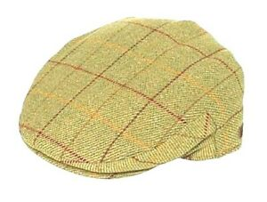 100% Wool Flat Cap Mustard Window Check Country Classic Style BETTER QUALITY New