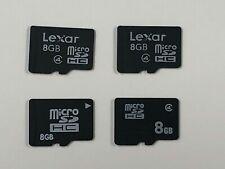 Lot of 4 Used 8GB Micro SDHC Memory Cards (2 x Lexar Class 4 & 2 Generic)