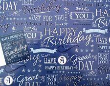 2 SHEETS OF JUST FOR YOU, HAPPY BIRTHDAY WRAPPING PAPER & 1 GIFT TAG (047)