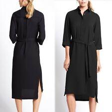 M&S 3/4 Sleeve SHIRT DRESS with Belt ~ Size 10 ~ BLACK