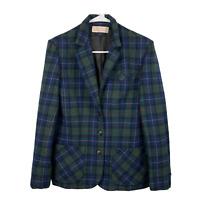 Vtg Pendleton Women's S/M Plaid 100% Wool Blazer Blue Green Tartan Jacket
