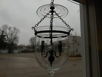 Vintage Apothecary three light Fixture Brass with Cut Glass