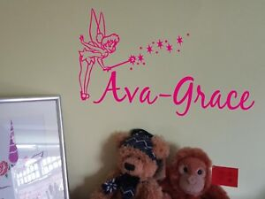Tinkerbell Fairy Disney Personalised Name Sticker Room/Wall/Car Vinyl Decal