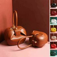 Small Large Real Leather Vintage Round Pouch Purse Top Handle Handbag Grab Bag