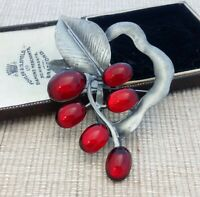 Vintage Style - Ruby Red Berries Large Christmas Leaf Brooch Pin