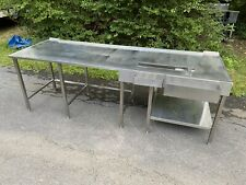 Custom Made 102 X 34 Stainless Steel Beverage Station Counter With Drain