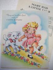 Mary Had a Little Lamb + sheet music vintage Birthday greeting card #3B