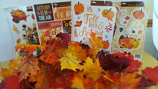 Autumn Leaf Glitter Garlands 36' + 4 Sheets Window Clings NEW