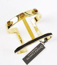 VINCE CAMUTO Tiger's Eye Stone Black Leather Gold-Tone Bar Cuff Bracelet $68
