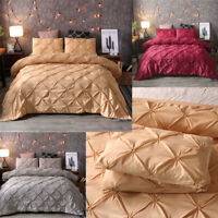Pinch Pleat Pintuck Duvet Comforter Cover Pillowcase Bedding Set Queen King