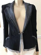Women Fendi Blazer Leather Size M Navy with Silver Lace